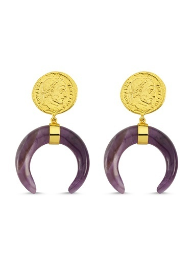 Reian Jewelry Coın Amethyst Küpe Altın